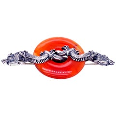 Midcentury Carl Schon Sterling Silver Carnelian Dragon Pin