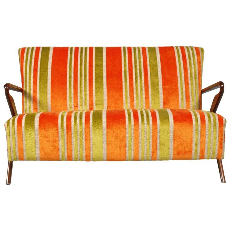 Mid-Century Modern Midcentury Carlo de Carli Designer Attributed Restored Setof Armchairs and Sofà For Sale