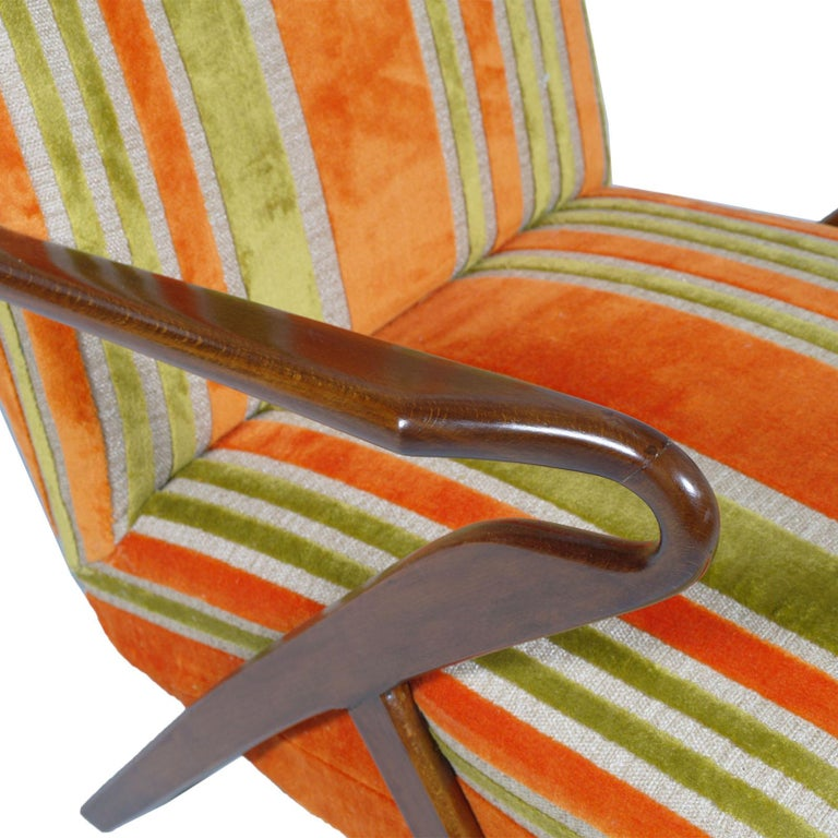 Walnut Midcentury Carlo de Carli Designer Attributed Restored Setof Armchairs and Sofà For Sale