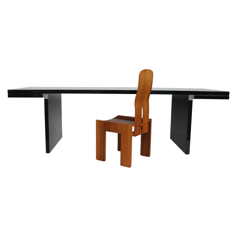 Midcentury Carlo Scarpa Natural Walnut Italian Chair Mod 1934-765 Bernini, 1977