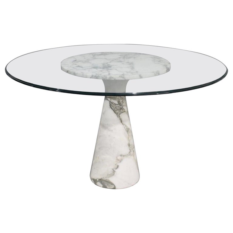 Midcentury Carrera Marble and Glass Centre Table, Manner of Angelo Mangiarotti For Sale