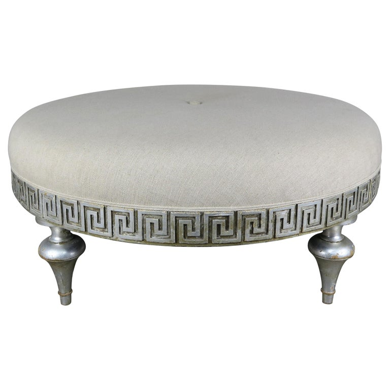 Midcentury Carved Greek Key Round Linen Ottoman For Sale
