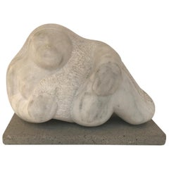 Midcentury Carved Marble Botero Style Reclining Figure Sculpture