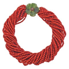 Midcentury Carved Nephrite Coral Ruby Diamond Gold Torsade Necklace