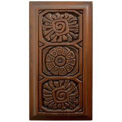 Midcentury Carved Redwood Panel