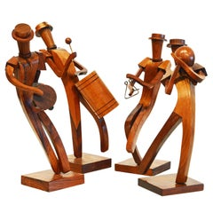 Midcentury Carved Rosewood Latin American Cubist Style Four Musicians Band