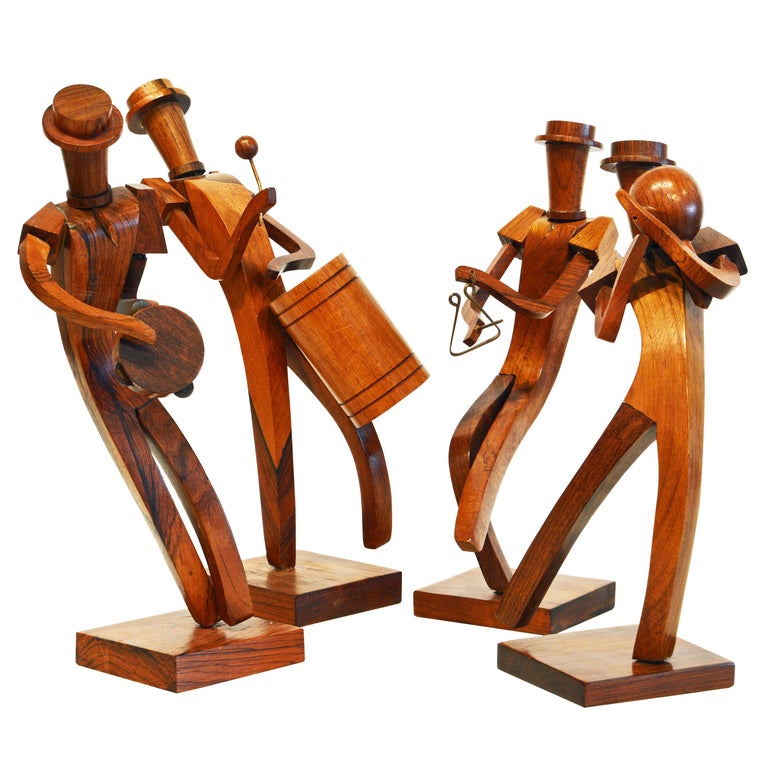 Midcentury Carved Rosewood Latin American Cubist Style Four Musicians Band For Sale