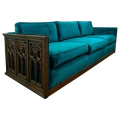 Midcentury Carved Wood Frame Gothic Style Three-Seat Sofa