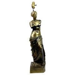 Midcentury Cast Bronze Venus de Milo Table Lamp, Neoclassical, Monumental Light