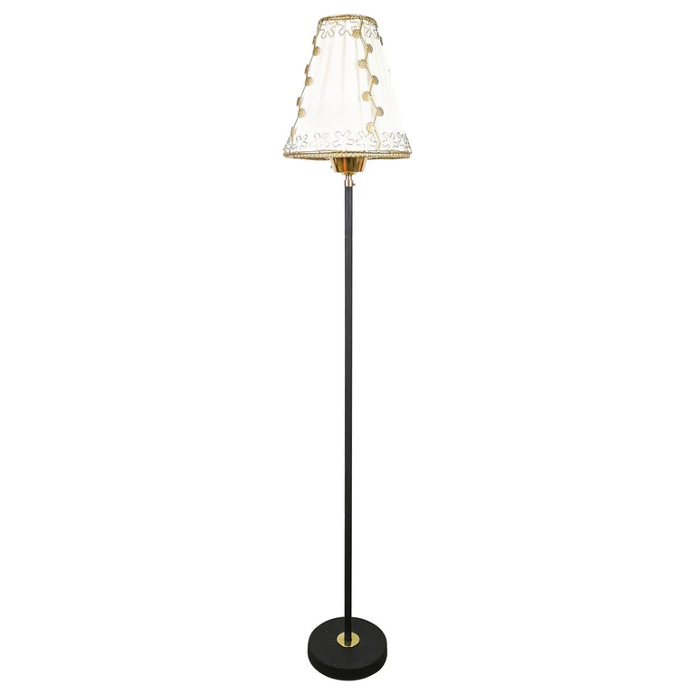 Midcentury Cast Iron and Brass Floor Lamp by Swedish Ewå For Sale
