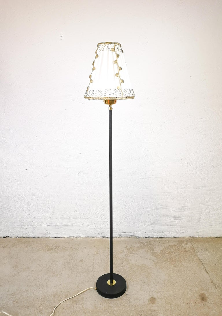 Mid-Century Modern Midcentury Cast Iron and Brass Floor Lamp Ewå, Sweden, 1960s For Sale