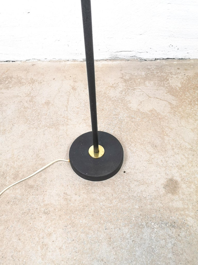 Swedish Midcentury Cast Iron and Brass Floor Lamp Ewå, Sweden, 1960s For Sale