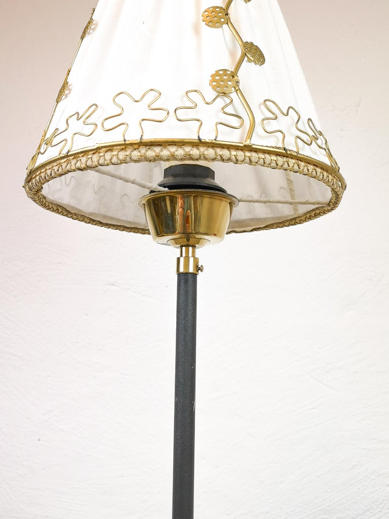Midcentury Cast Iron and Brass Floor Lamp Ewå, Sweden, 1960s For Sale 1