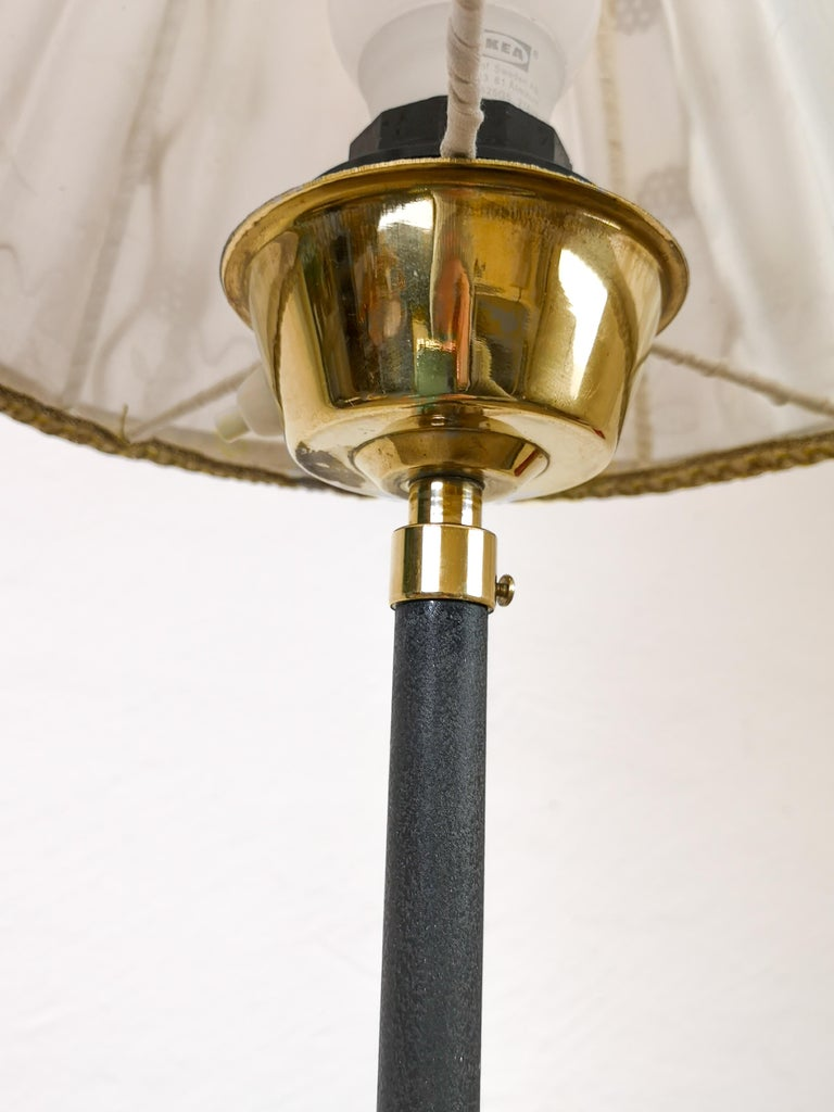 Midcentury Cast Iron and Brass Floor Lamp Ewå, Sweden, 1960s For Sale 2