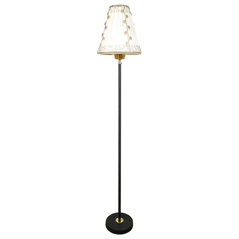 Midcentury Cast Iron and Brass Floor Lamp Ewå, Sweden, 1960s For Sale