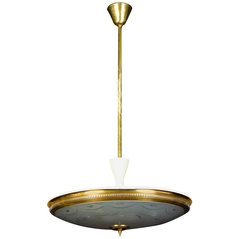 Midcentury Ceiling Fixture or Pendant by Luigi Brusotti, Italy, 1940 For Sale
