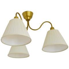 Midcentury Ceiling Lamp by Hans Bergström Ateljé Lyktan in Brass