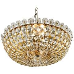 Midcentury Ceiling Lamp with Glass Stones Brass Frame Vereinigten Werkstätten
