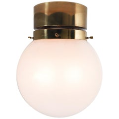 Midcentury Ceiling Light with Brass Frame and White Frosted Glass Globe, 1960s