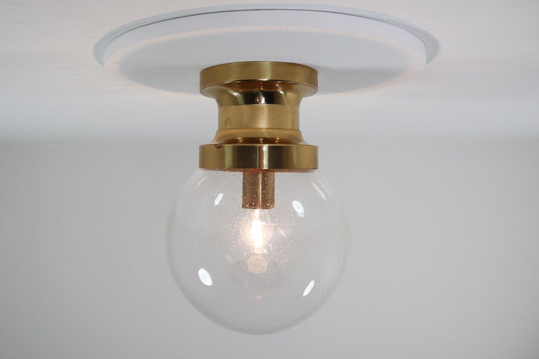 Large hotel ceiling light with brass frame and large hand blown glass. This light is beautifully thanks to the handblown glass and brass fixture. This light were originally founded at large hotel in Vienna, Austria. The pleasant light it spreads is