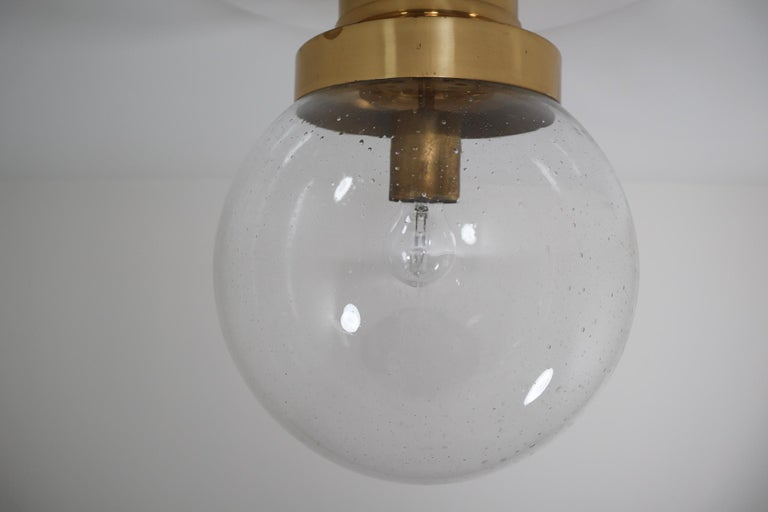 Mid-Century Modern Midcentury Ceiling Light with Brass Frame and Large Hand Blown Glass Globe 1960s For Sale