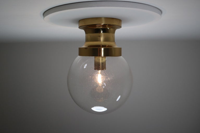 Midcentury Ceiling Light with Brass Frame and Large Hand Blown Glass Globe 1960s In Good Condition For Sale In Almelo, NL