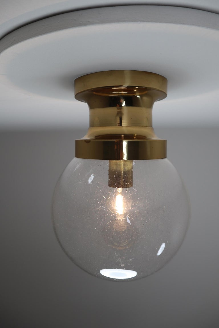 20th Century Midcentury Ceiling Light with Brass Frame and Large Hand Blown Glass Globe 1960s For Sale