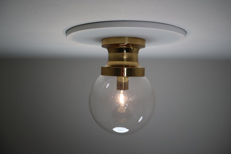Midcentury Ceiling Light with Brass Frame and Large Hand Blown Glass Globe 1960s For Sale 1