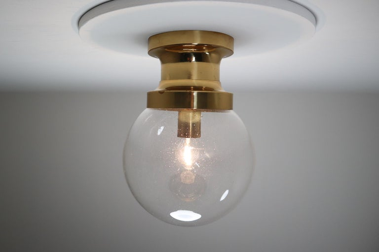 Midcentury Ceiling Light with Brass Frame and Large Hand Blown Glass Globe 1960s For Sale 2