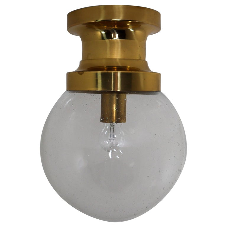 Midcentury Ceiling Light with Brass Frame and Large Hand Blown Glass Globe 1960s For Sale