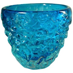 Midcentury Centerpiece Bowl Vase Champagne Cooler Blue Murano Glass, Italy, 1960