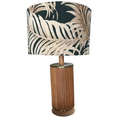 Midcentury Century Bamboo Tropical Lamp with Fabric Palm Leaf Shade