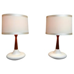Midcentury Ceramic and Walnut Table Lamps