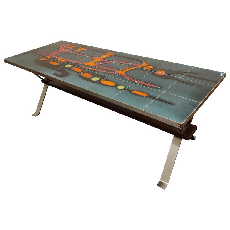 Midcentury Ceramic Coffee Table by Adri, 1960s For Sale
