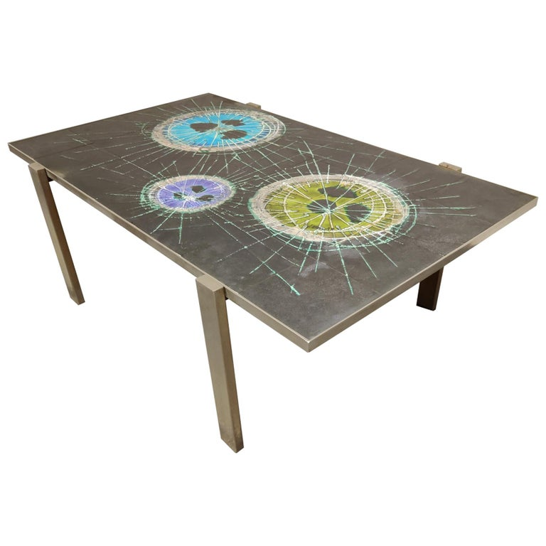 Midcentury Ceramic Coffee Table by Juliette Belarti, 1960s For Sale