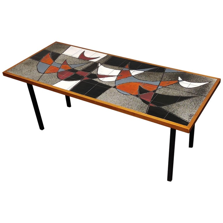 Midcentury Ceramic Coffee Table by Vigneron, 1960s For Sale