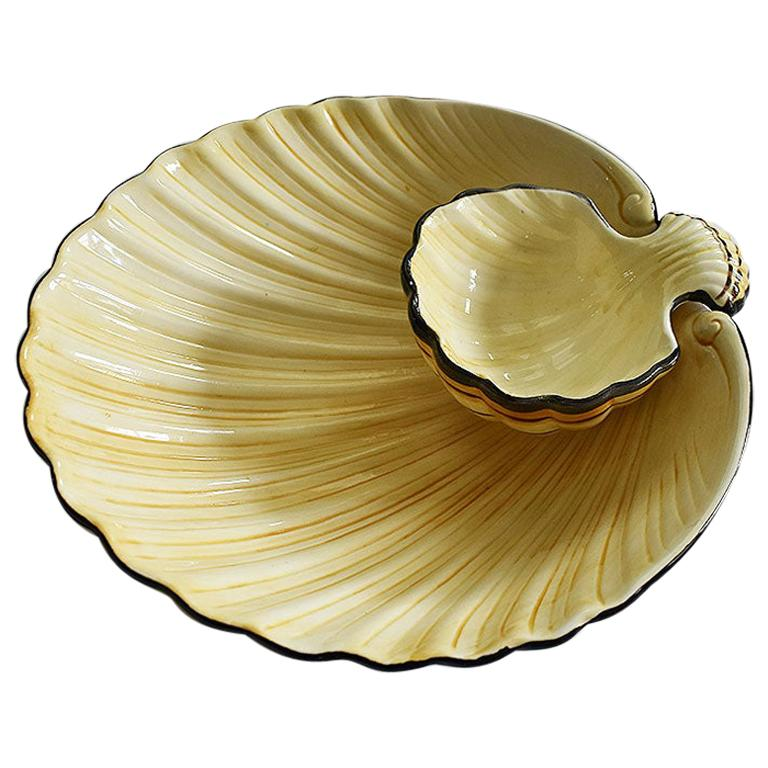 Midcentury Ceramic Fitz and Floyd Clam Shell Platter in Yellow and Black