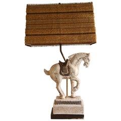 Midcentury Ceramic Horse Equestrian Table Lamp