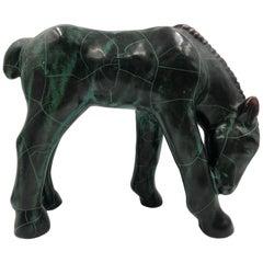 Midcentury Ceramic Horse Sculpture Dark Green Crackle Glazed