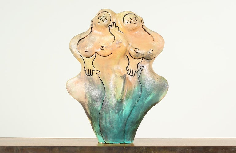 Mid-Century Ceramic Nude Women Sculpture In Excellent Condition For Sale In Los Angeles, CA