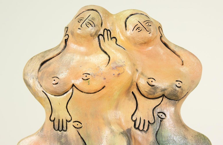 Mid-20th Century Mid-Century Ceramic Nude Women Sculpture For Sale