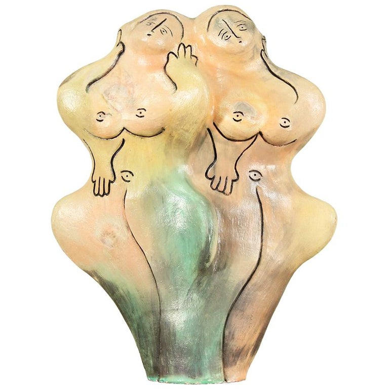 Mid-Century Ceramic Nude Women Sculpture For Sale