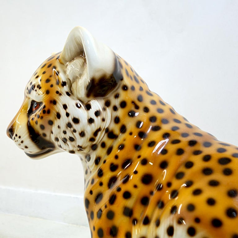Mid-Century Modern Midcentury Ceramic Statuette of a Baby Panther in the Style of Ronzan For Sale