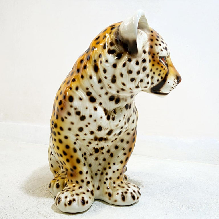 Midcentury Ceramic Statuette of a Baby Panther in the Style of Ronzan In Good Condition For Sale In Doornspijk, NL