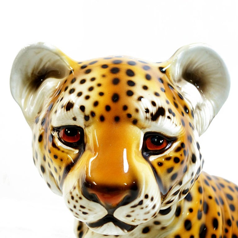 Late 20th Century Midcentury Ceramic Statuette of a Baby Panther in the Style of Ronzan For Sale