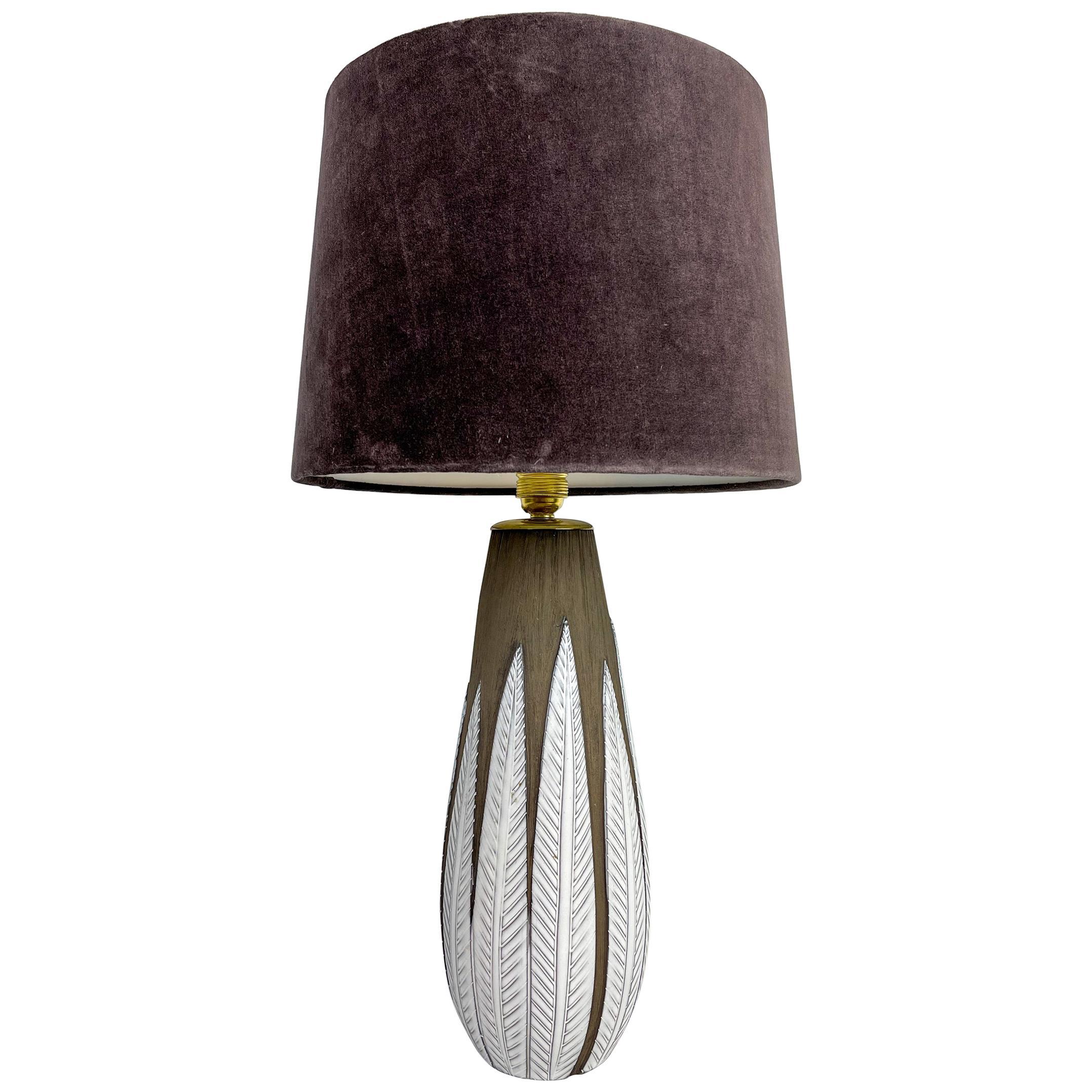 "Midcentury Ceramic Table Lamp ""Paprika""by Upsala Ekeby, Sweden, 1940s"