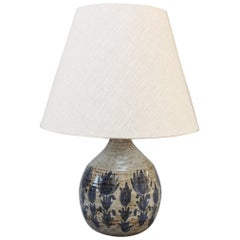 Midcentury Ceramic Table Lamp with Blue Flower Motif, circa 1960s