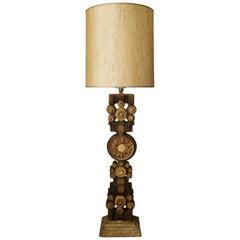 Midcentury Ceramic TOTEM Floor Lamp in Brown Tones by Bernard Rooke, England