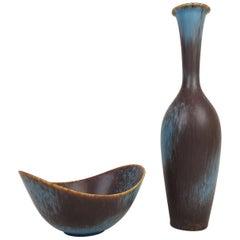 Midcentury Ceramic Vase and Bowl Gunnar Nylund Rörstrand, Sweden