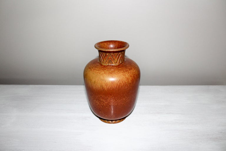 Midcentury Ceramic Vase by Gunnar Nylund for Rörstrand In Good Condition For Sale In Malmo, SE